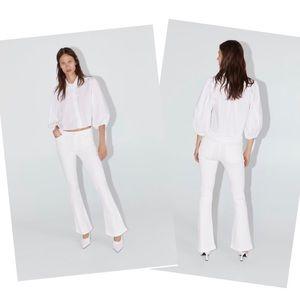 ZARA Skinny Flare Jeans in Off White